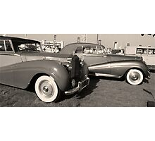 Black and White Vintage Cars Photographic Print