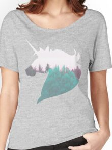 """Dreamland Unicorn"" - Woodland Purple Teal Woods Dreamy Dream Evergreen Trees Into the Wild Horse Equine Mythical Creature Women's Relaxed Fit T-Shirt"