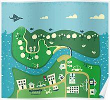 cartoon map Poster
