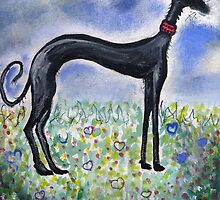 Greyhound in Field by Mark Dobson