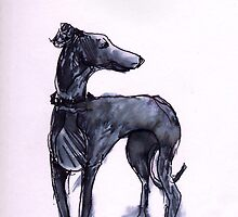 Greyhound Standing in Inks by Mark Dobson