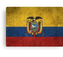 Old and Worn Distressed Vintage Flag of Ecuador Canvas Print