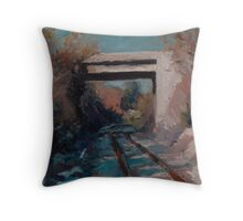 Highway overpass on the railroad tracks Throw Pillow