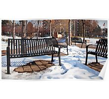 Park Benches in Winter Time Poster