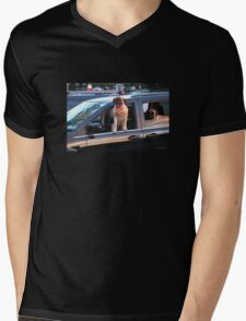 Watching the Sunset While it Reflects on the Car Mens V-Neck T-Shirt