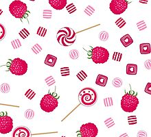 Raspberry lollipops, candy and chewing gum seamless pattern background by fuzzyfox