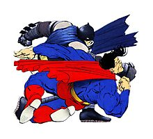 Batman punches Superman [no text] Photographic Print