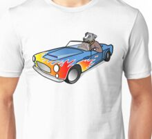Dog Driving Race-Car, Illustration Unisex T-Shirt