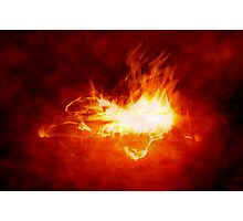 Abstract Digital Heart on Fire Photographic Print