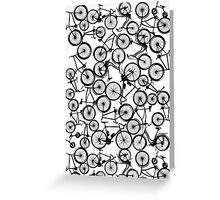 Pile of Black Bicycles Greeting Card