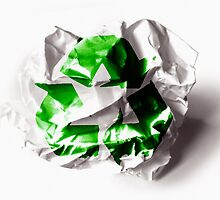 Recycle sign on torn paper background by queensoft