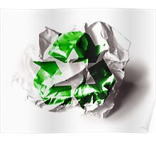 Recycle sign on torn paper background Poster