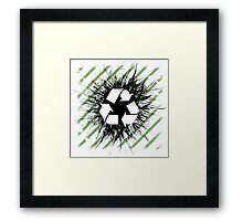 Recycle sign on grunge background Framed Print