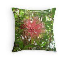 Pink Puffy Flower Throw Pillow