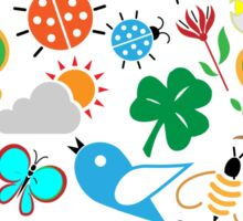 Spring Symbols Seamless Pattern Sticker