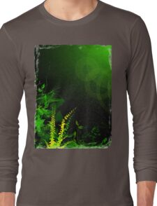 Abstract Digital Green Leaves Background Long Sleeve T-Shirt
