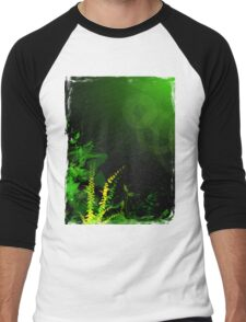 Abstract Digital Green Leaves Background Men's Baseball ¾ T-Shirt