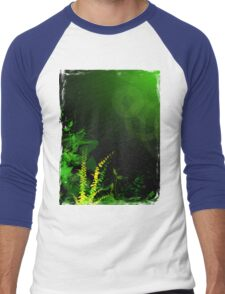 Abstract Digital Green Leaves Background Men's Baseball ¾ T-Shirt