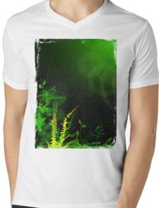 Abstract Digital Green Leaves Background Mens V-Neck T-Shirt