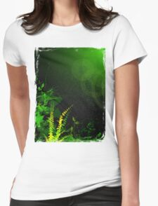 Abstract Digital Green Leaves Background Womens Fitted T-Shirt