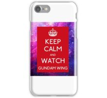 keep calm and watch Gundam Wing RED Galaxy iPhone Case/Skin