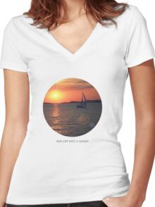 Run off into a sunset... Women's Fitted V-Neck T-Shirt