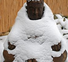 Stone Buddha in a blanket of snow by Michael Brewer