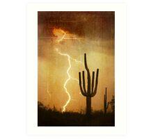 SW Saguaro Desert Landscape Art Print