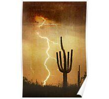 SW Saguaro Desert Landscape Poster