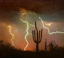 Arizona Saguaro Lightning Storm Print by Bo Insogna