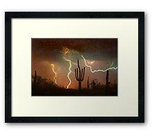 Arizona Saguaro Lightning Storm Print Framed Print