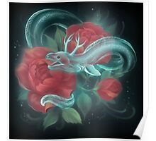 Ghost eel and roses Poster