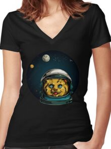 Space Kitty Astronaut Cat  Women's Fitted V-Neck T-Shirt