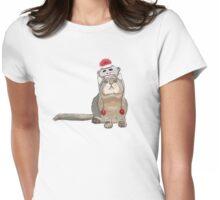 Sock monkey hat cat Womens Fitted T-Shirt