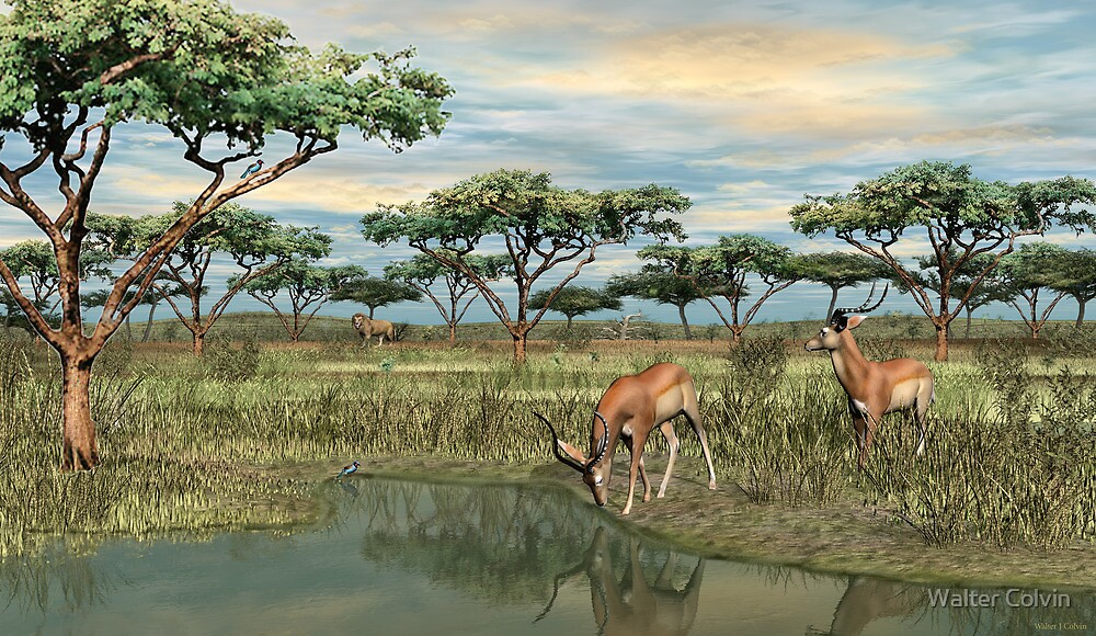 Danger at the Water Hole by Walter Colvin