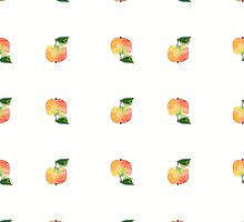 seamless watercolor pattern made of scattered decorative apples by OlgaBerlet