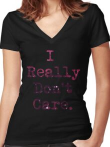 Don't Care Women's Fitted V-Neck T-Shirt