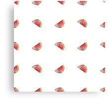 seamless pattern made of scattered decorative watermelon watercolor Canvas Print