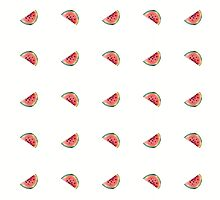seamless pattern made of scattered decorative watermelon watercolor by OlgaBerlet