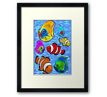 Tropical Fishes Pattern Framed Print