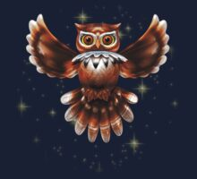 Surreal Owl Metallic Flying on the Night 3d Kids Clothes