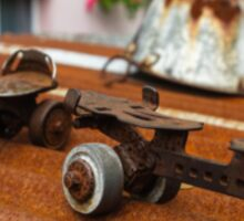 Rusty Old Roller Skates and Tin Bath Sticker
