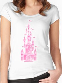 Pink Fairy Princess Castle Women's Fitted Scoop T-Shirt