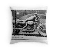 Light Snow in Downtown Atlanta Motor bike Throw Pillow