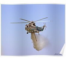 Helitanker dropping water Poster