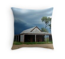 Storm brewing behind the old Wilber Stables Throw Pillow