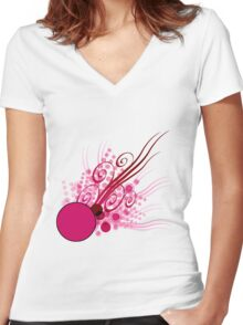 Abstract Digital Pink Bubbles Women's Fitted V-Neck T-Shirt