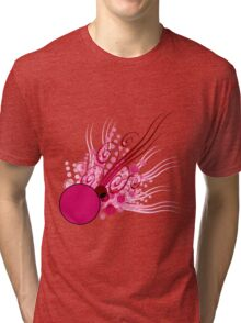 Abstract Digital Pink Bubbles Tri-blend T-Shirt