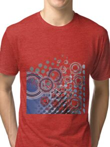 Abstract Digital Blue Bubbles Tri-blend T-Shirt