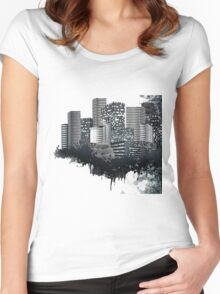 Abstract Digital Urban Setting Women's Fitted Scoop T-Shirt